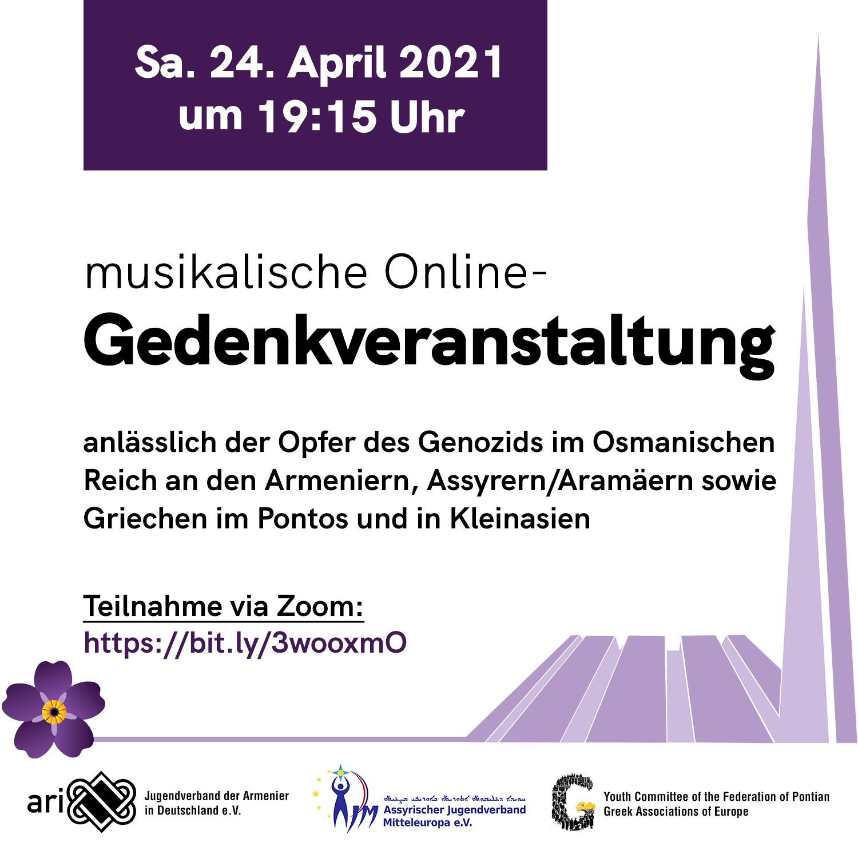 Gedenkveranstaltung 24. April 2021